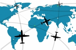 Graphic showing planes flying around the globe