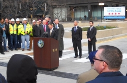 Photo of Deputy Secretary Porcari with Gov Quinn Mayor Emanuel and Commissioner Klein at the reopening of Wacker Drive