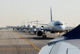 Photos of aircraft awaiting takeoff