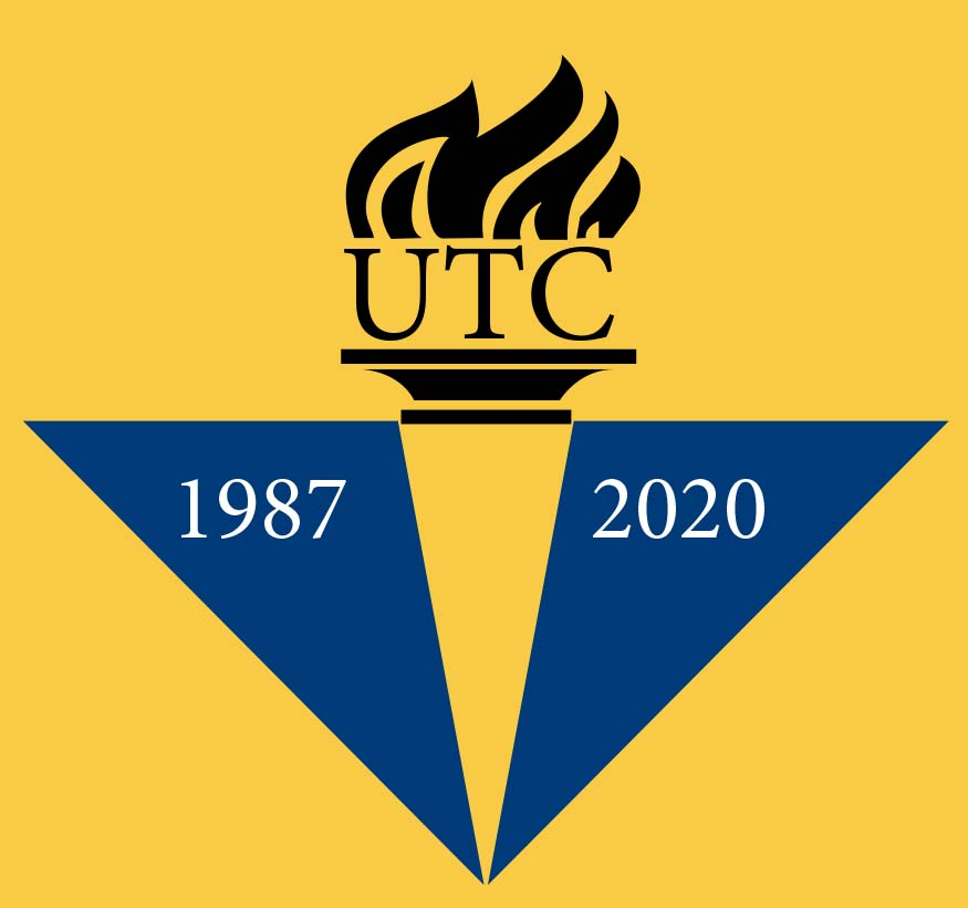 UTC Logo: torch with years 1987-2020